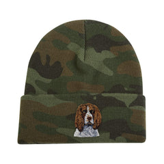 Camouflage Knit Cap featuring very detailed embroidered Brown & White Springer Spaniel by Rascals Sporting Dogs