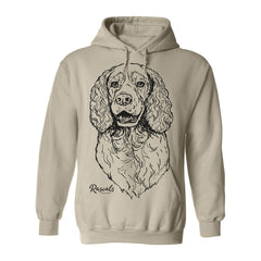 Adult Hoodie from Rascals Sporting Dogs featuring large black-ink illustration of Springer Spaniel.