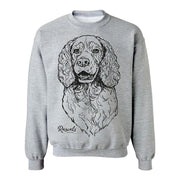 Adult Crewneck Sweatshirt from Rascals Sporting Dogs featuring large black-ink illustration of Springer Spaniel.