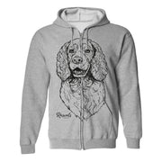 Full-Zip Hooded Sweatshirt w/ Large Springer Spaniel
