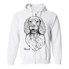 Adult Full Zip Hooded Sweatshirt from Rascals Sporting Dogs featuring large black-ink illustration of Springer Spaniel