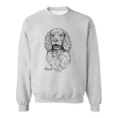 Adult Crewneck Sweatshirt from Rascals Sporting Dogs featuring black-ink illustration of Springer Spaniel.