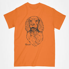 Classic Adult T-shirt from Rascals Sporting Dogs featuring black-ink illustration of Springer Spaniel