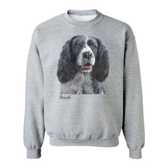 Black & White Springer Spaniel painting on Adult Crewneck Sweatshirt by Rascals Sporting Dogs