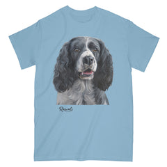 Black & White Springer Spaniel painting on Adult Classic T-shirt by Rascals Sporting Dogs
