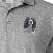 Detail of Black & White Springer Spaniel painting on Adult Polo Sport Shirt by Rascals Sporting Dogs