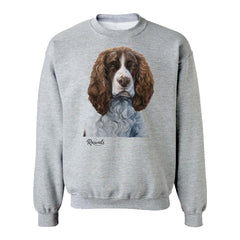 Brown & White Springer Spaniel painting on Adult Crewneck Sweatshirt by Rascals Sporting Dogs