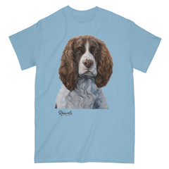 Brown & White Springer Spaniel painting on Adult Classic T-shirt by Rascals Sporting Dogs