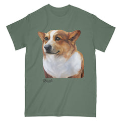 Welsh Corgi painting on Adult Classic T-shirt by Rascals Sporting Dogs
