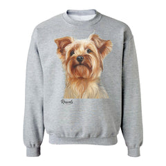 Yorkshire Terrier painting on Adult Crewneck sweatshirt by Rascals Sporting Dogs