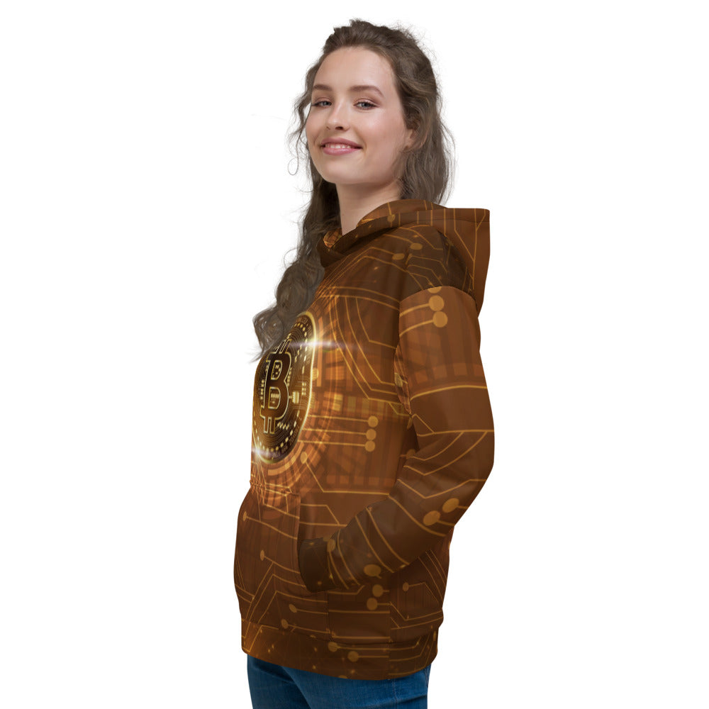 Bitcoin AOP Women's Fleece Hoodie