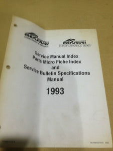 Mercruiser service manual parts micro fiche index and service bulletin spec 1992