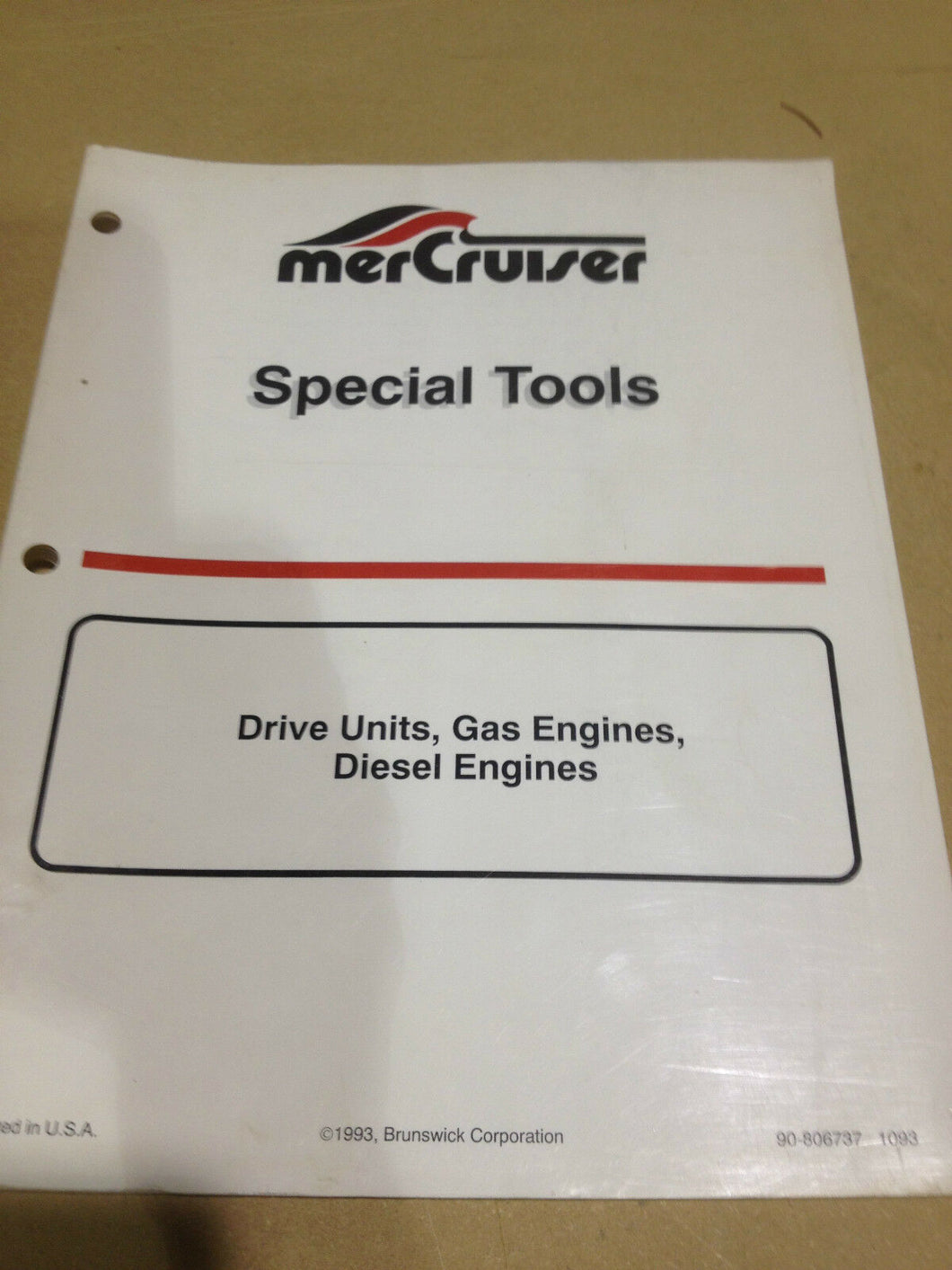 Mercruiser Special Tools drive, gas and diesel engine manual 1993 90-806737