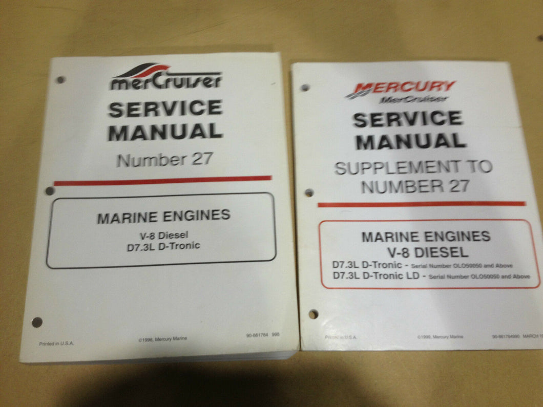 Mercruiser Service manual # 27 Marine Engine V-8 Diesel D 7.3L 1998 90-861784 +