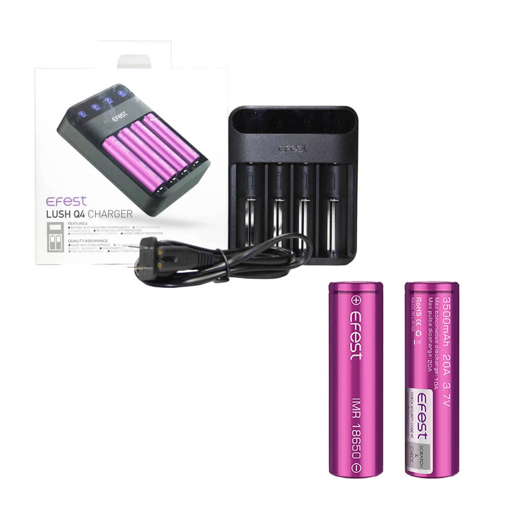 Efest LUSH Q4 Charger with 2 x 18650 (3500mAh) Battery