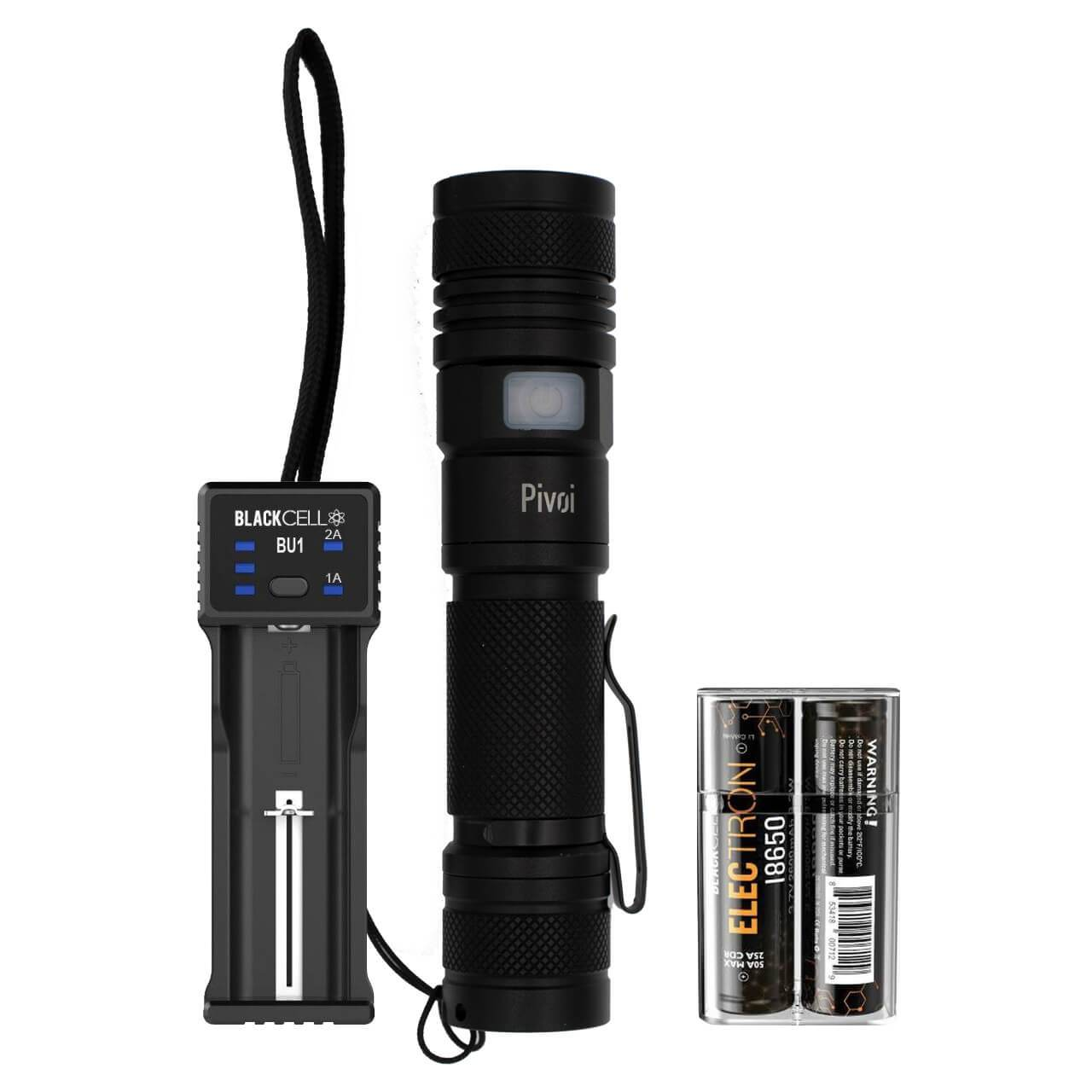 10W LED Flashlight with Blackcell BU1 Charger and 2 x 18650 Battery