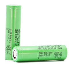 Samsung 25R INR 18650 2500mAh 20A 3.7v Rechargeable Batteries Flat-Top - Pack of 2