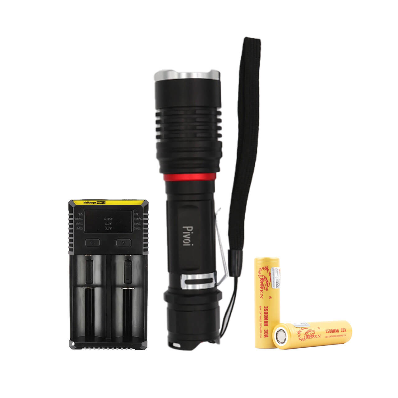 10W LED Rechargeable Flashlight with NiteCore I2 IntellCharger and 2 x 18650 Battery
