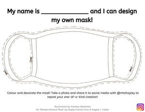 Mandy's Musical Mask Book Colouring Pages