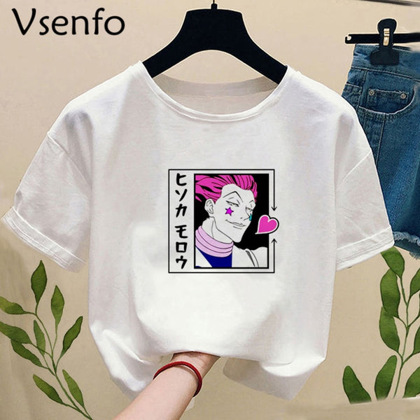 Anime Sisso Hisoka T-shirt Women  Summer White