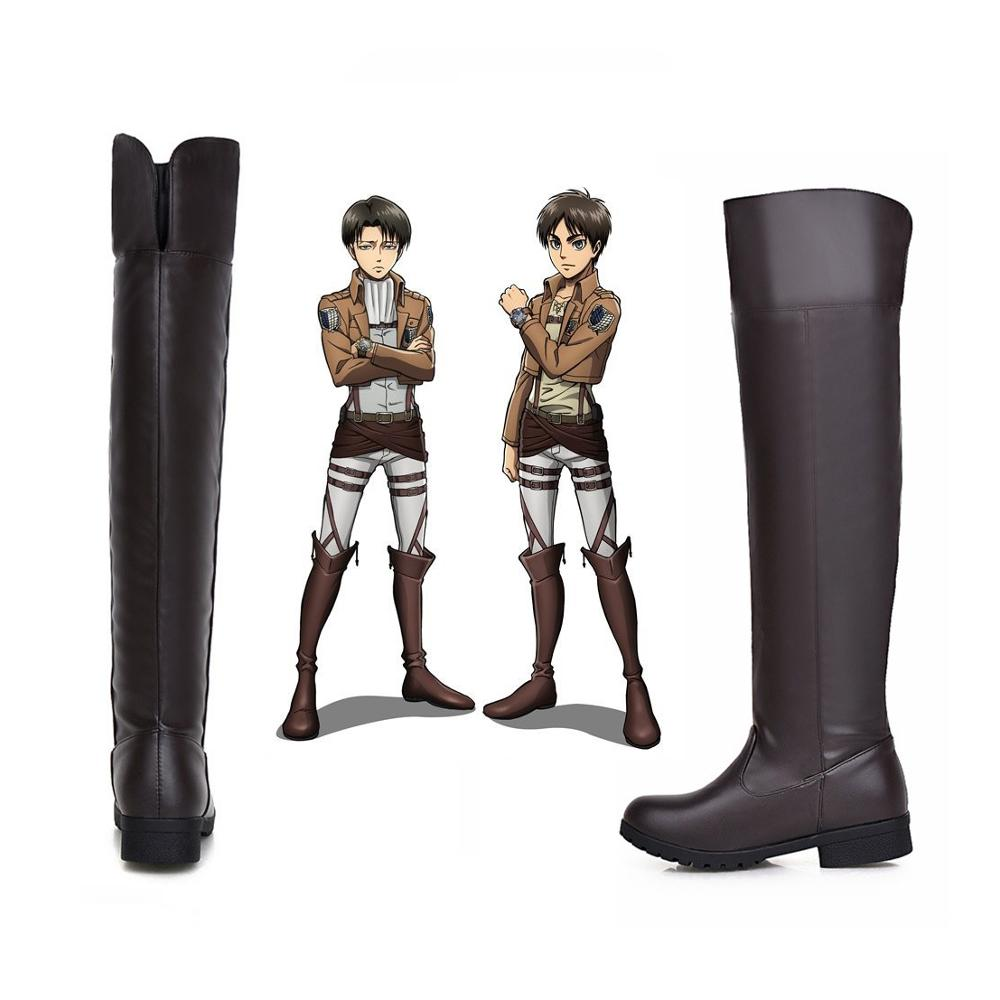 Anime Shoes  Attack On Titan Leathe Boots Eren Jaeger Shingeki Kyojin Cosplay Costume