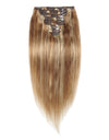 16 to 26 Inch #27/613 10pcs Straight Clip In Human Hair Extensions