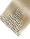 16 to 26 Inch #60 White Blonde 10pcs Straight Clip In Human Hair Extensions
