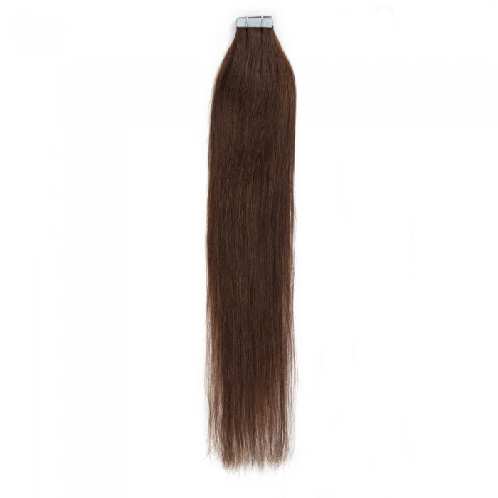 16-22 Inch Straight Tape In Remy Hair Extensions #4 Chocolate Brown