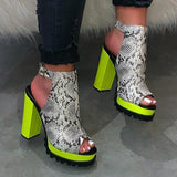 Sandalsjoy PU Leather Chunky Heels