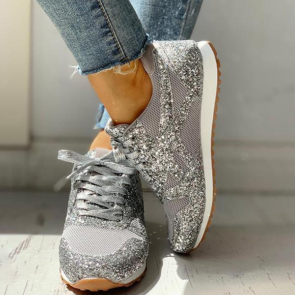Sandalsjoy Solid Sequins Lace-Up Sport Sneakers