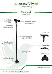 Smart Standard Walking Stick (Essential Handle With Manual Alarm)