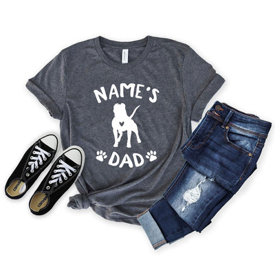 Personalized Pit Bull Dad Shirt - Unisex Premium T-Shirt Bella + Canvas 3001