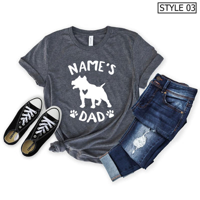 Personalized American Staffordshire Terrier Dad Shirt - Unisex Premium T-Shirt Bella + Canvas 3001
