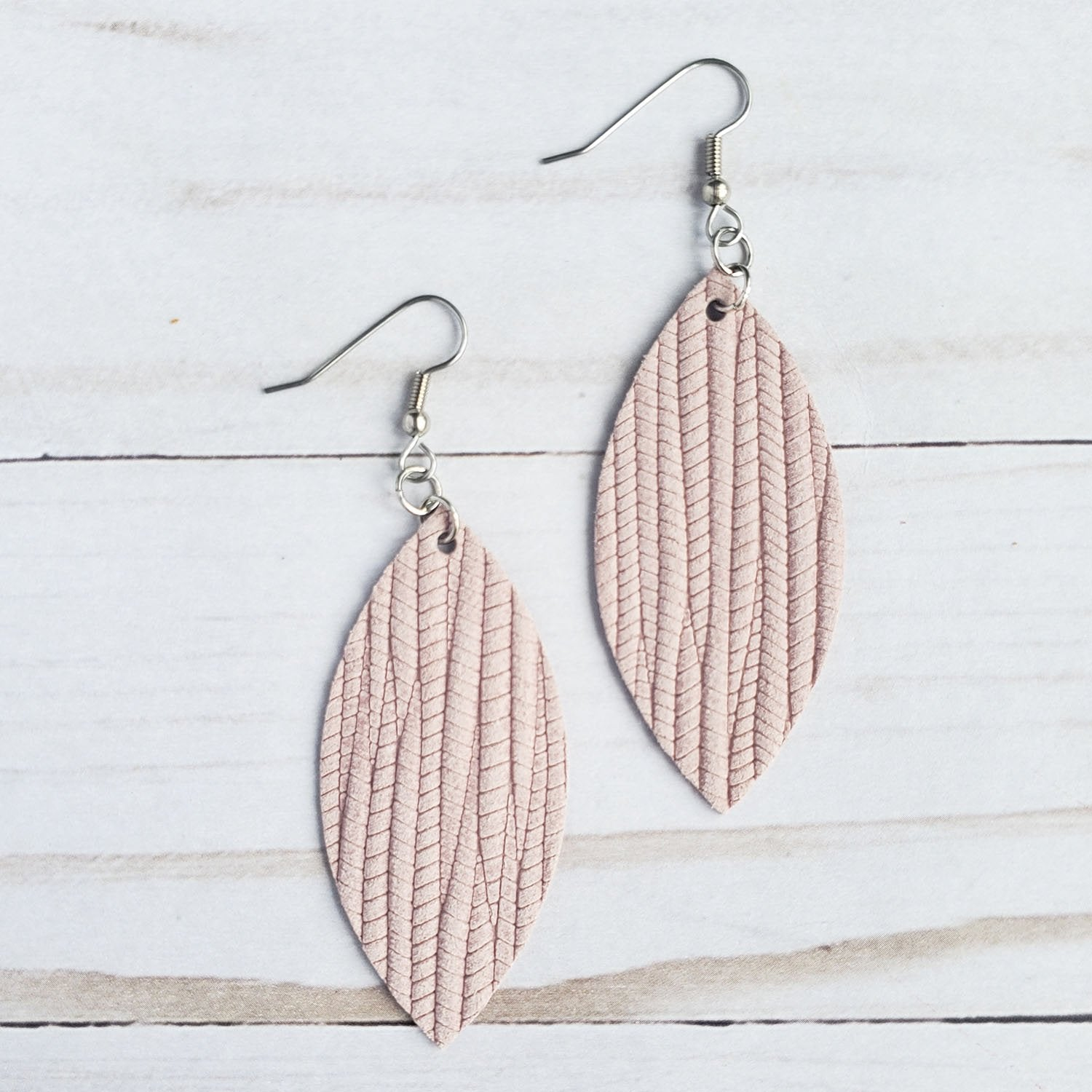 Light Pink Palm Leather Petal Earrings - Zip & Mos