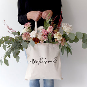 Bridesmaid Wedding Cotton Canvas Tote Bag - Zip & Mos