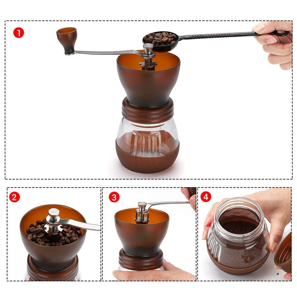 Manual Coffee Grinder with Conical Ceramic Burr - Zip & Mos
