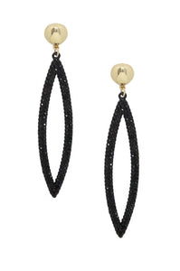 Black Crystal Oval Drop 18k Gold Plated Earrings - Zip & Mos