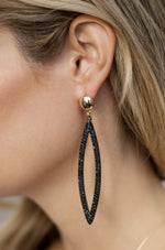 Load image into Gallery viewer, Black Crystal Oval Drop 18k Gold Plated Earrings - Zip & Mos