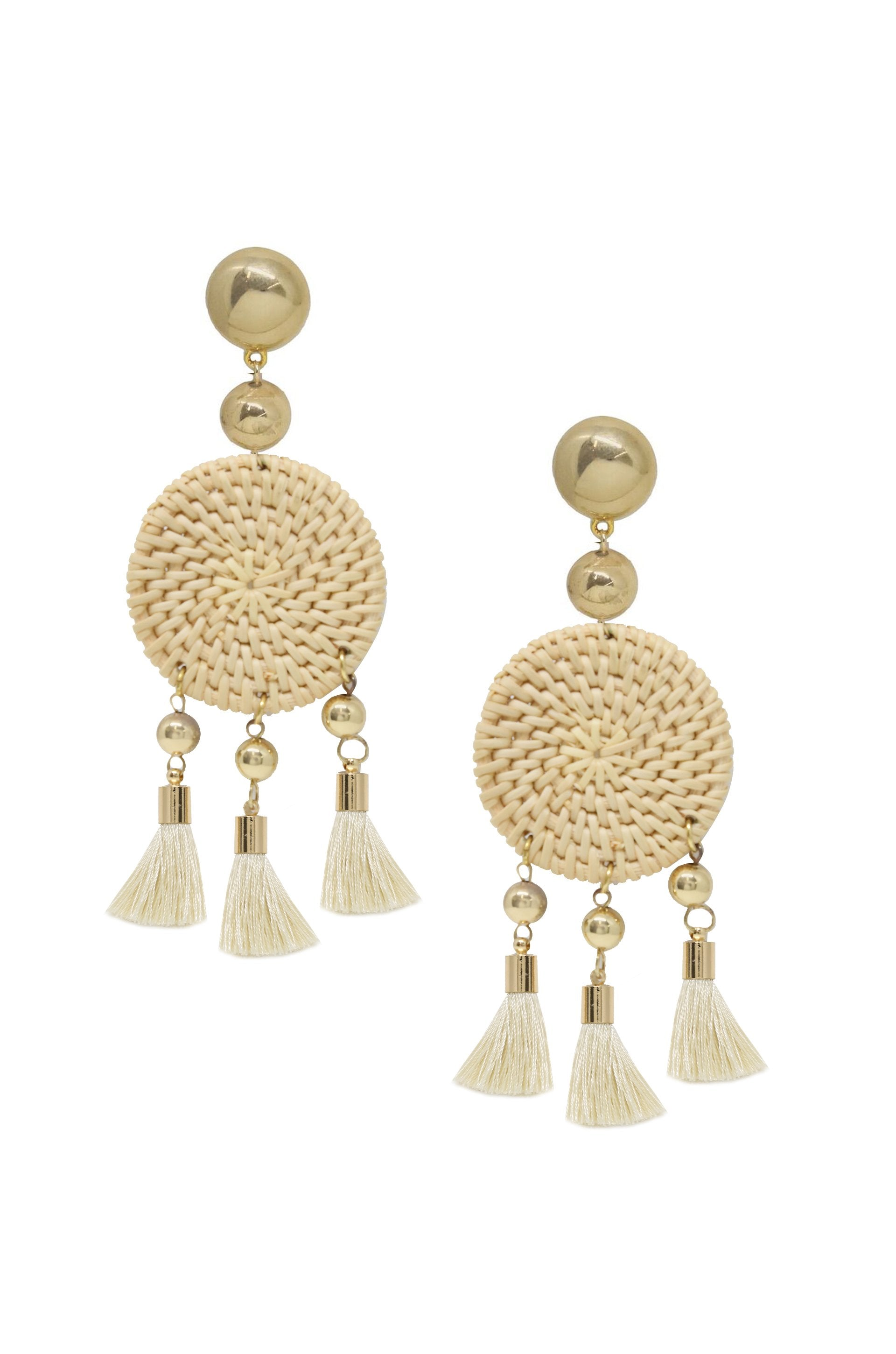 Boho Woven Natural Tassel Earrings in Cream and Gold - Zip & Mos