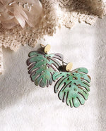 Load image into Gallery viewer, monstera earrings - verdigris - Zip & Mos