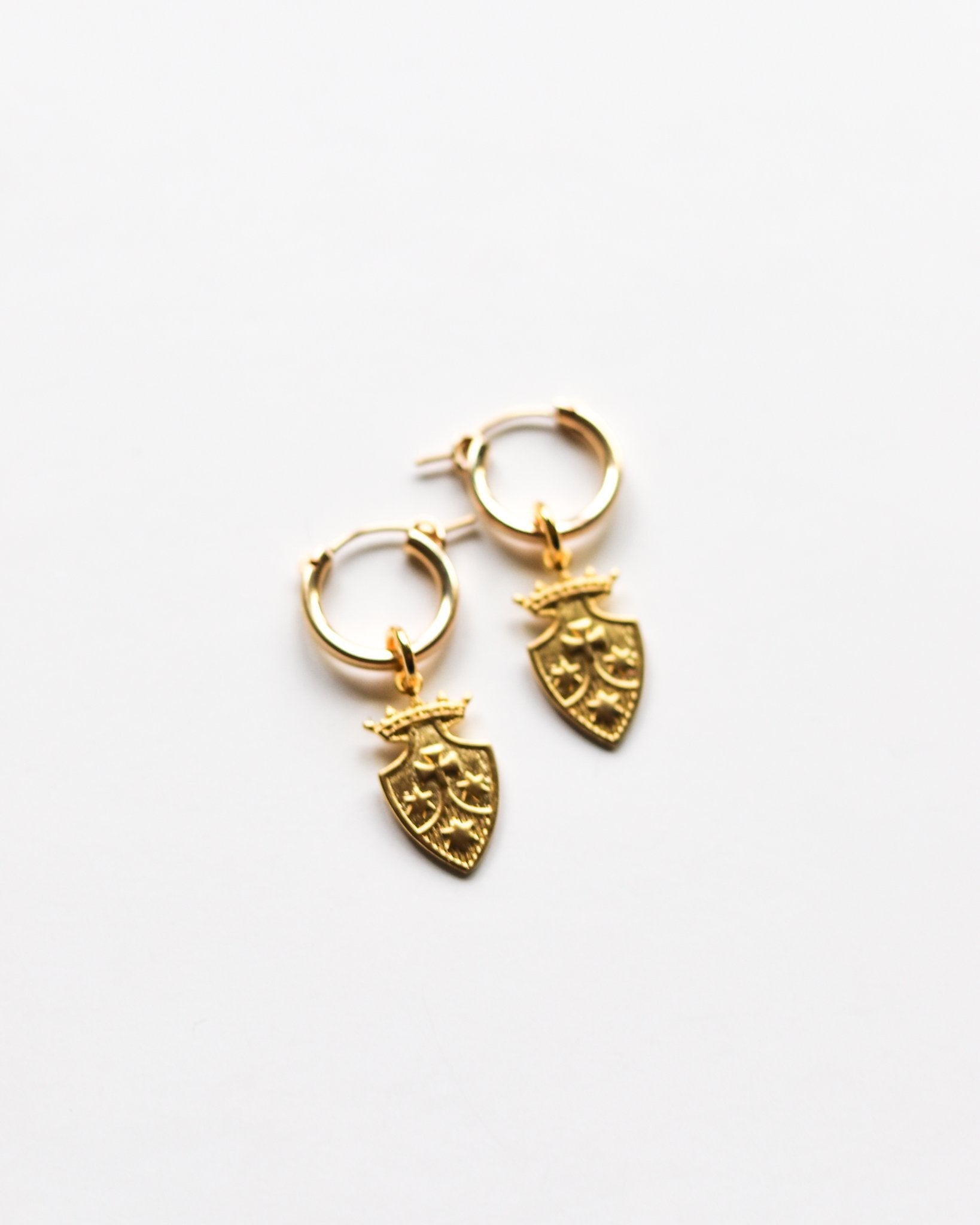 14K Gold Charm Hoop Earrings - Zip & Mos