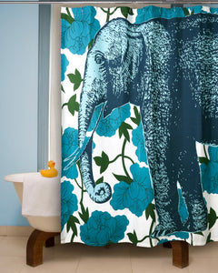 "Elephant Floral Shower Curtain 72""x72"" - Zip & Mos"