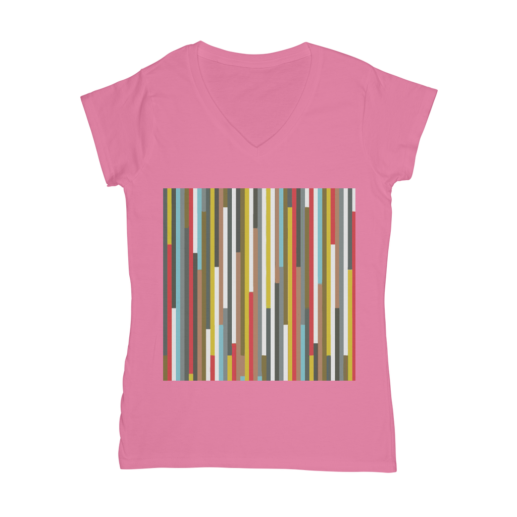 Abstract Art Classic Women's V-Neck T-Shirt - Zip & Mos