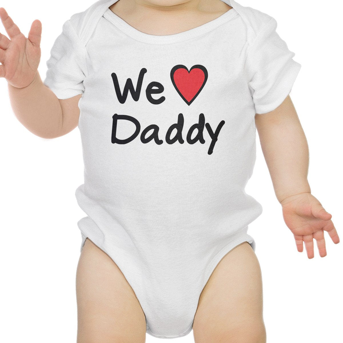 We Love Dad White Cute Baby Onesie Cotton Fathers - Zip & Mos