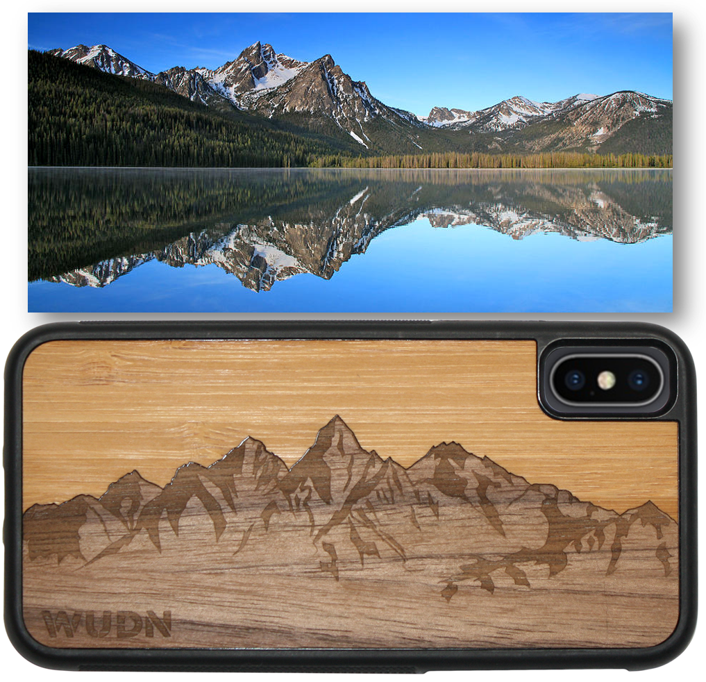 Slim Wooden Phone Case | Sawtooth Mountains Bamboo Sky - Zip & Mos