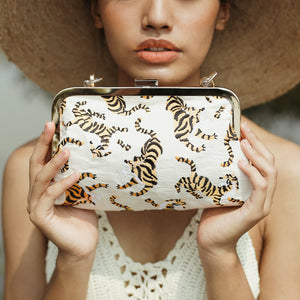 Sumatran Tiger Clutch, Ivory White - Zip & Mos