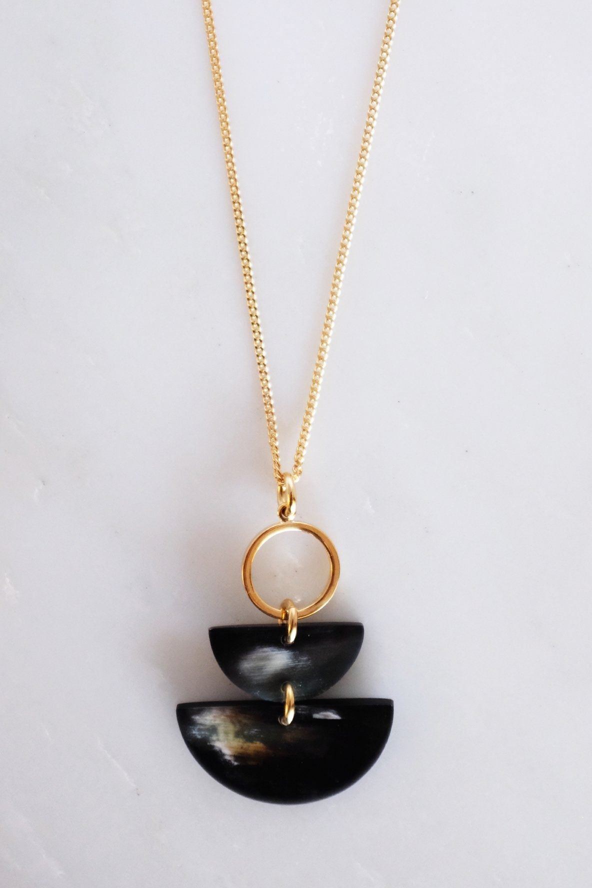 Saigon II Geo Buffalo Horn Long Pendant Necklace - Zip & Mos