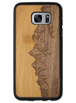 Load image into Gallery viewer, Slim Wooden Phone Case | Sawtooth Mountains Bamboo Sky - Zip & Mos