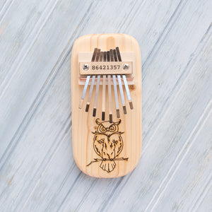 Owl Engraved Thumb Piano - Zip & Mos