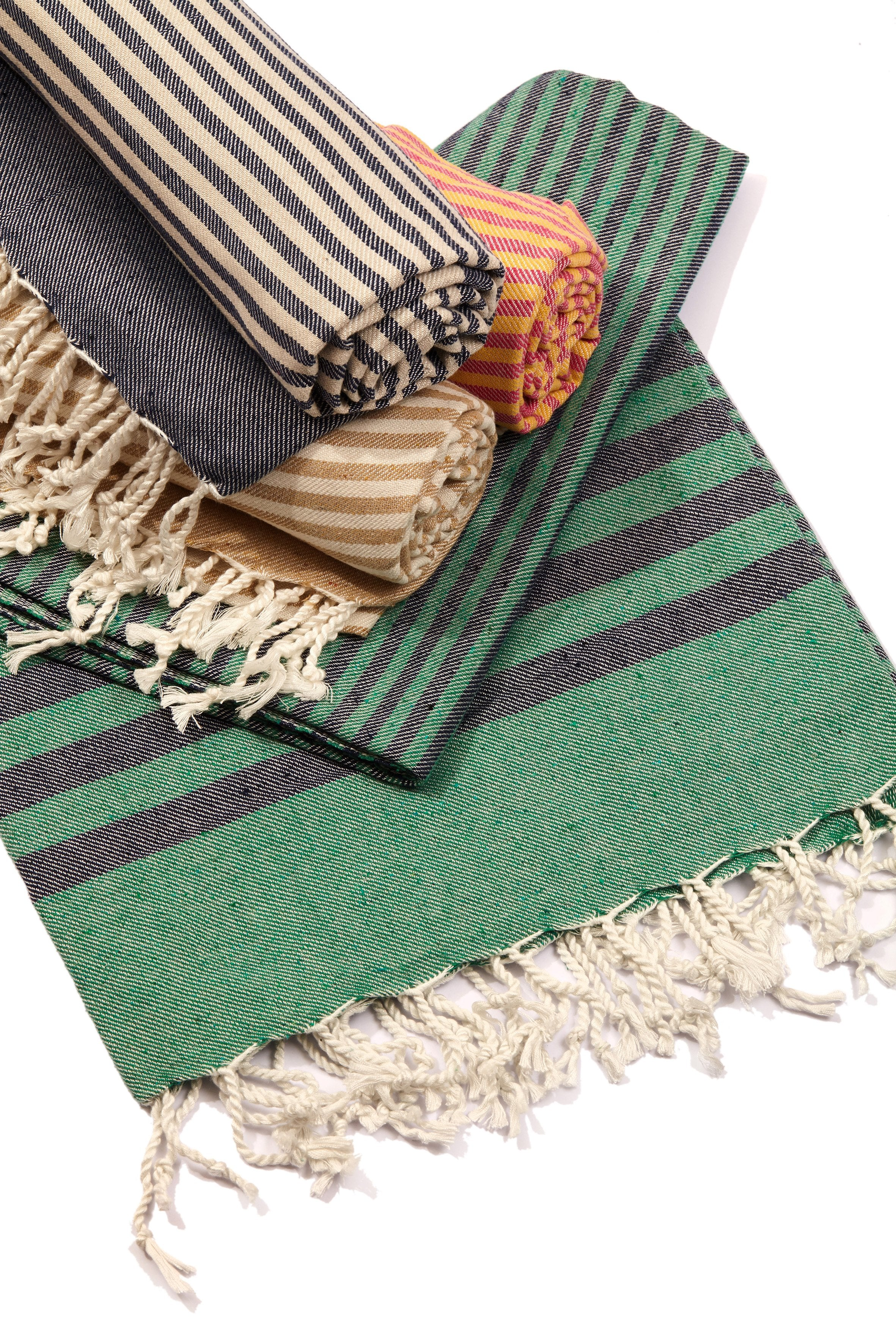 Fethiye Striped Ultra Soft Eco-Friendly Turkish Towel - Green & Navy Blue - Zip & Mos